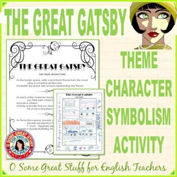 The Great Gatsby Fun Theme Character And Symbolism Activity Tpt