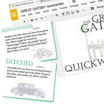 THE GREAT GATSBY Journal - Quickwrite Writing Prompts (Created for Digital)