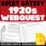 """THE GREAT GATSBY  """"Organized Crime"""" WEBQUEST   For the Secondary Classroom"""