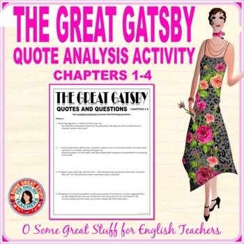 THE GREAT GATSBY QUOTES AND QUESTIONS ANALYSIS ACTIVITY
