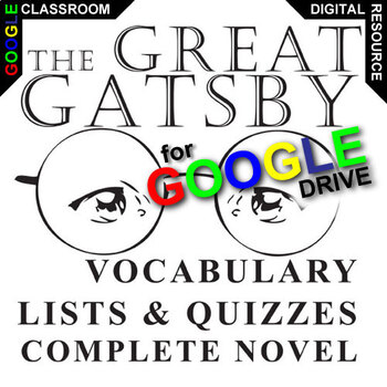 THE GREAT GATSBY Vocabulary List and Quiz Assessment (Created for Digital)