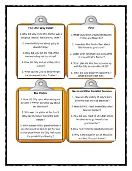 Katherine Paterson THE GREAT GILLY HOPKINS - Discussion Cards