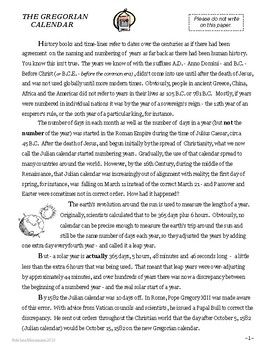 THE GREGORIAN CALENDAR Informational Reading