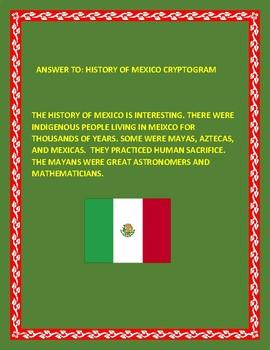 THE HISTORY OF MEXICO: CRYPTOGRAM: HISPANIC HERITAGE