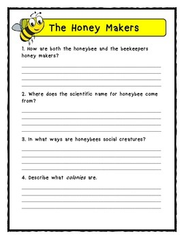 Gail Gibbons THE HONEY MAKERS - Comprehension & Text Evidence