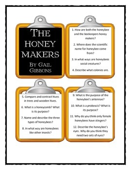 Gail Gibbons THE HONEY MAKERS - Discussion Cards