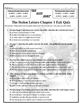 THE HOPE CHEST FREE LESSON FROM MY Activity/Assessment 141 Page CCSS Unit