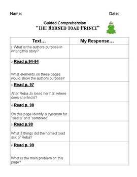 """THE HORNED TOAD PRINCE"" - guided comprehension graphic organizer"