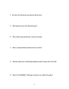 The Hot Zone Book Questions By Ivan Iniguez Teachers Pay Teachers