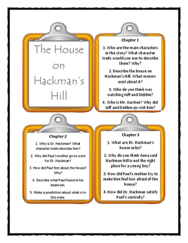 THE HOUSE ON HACKMAN'S HILL Joan Lowery Nixon - Discussion Cards