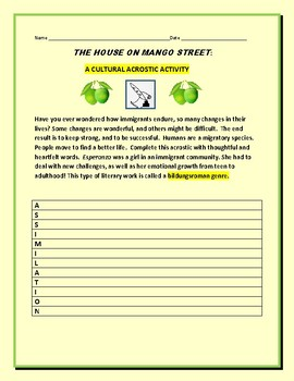 THE HOUSE ON MANGO STREET: A CULTURAL ACROSTIC ACTIVITY