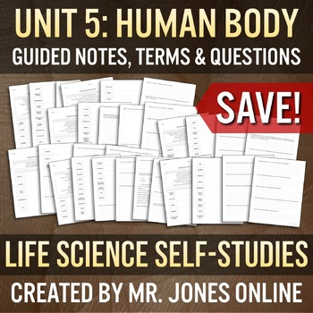 THE HUMAN BODY: Guided Notes / Self Study UNIT BUNDLE