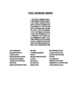 THE HUMAN BODY WORD SEARCH