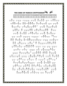 THE IDES OF MARCH CRYPTOGRAM