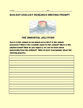THE IMMORTAL JELLYFISH: A SCIENCE RESEARCH PROMPT: AP BIOLOGY, MG, GRS.8-12