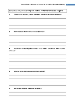 THE JOY LUCK CLUB TEACHER TEXT GUIDE AND WORKSHEETS