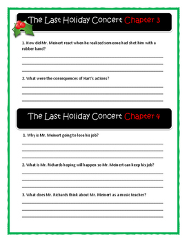Andrew Clements THE LAST HOLIDAY CONCERT - Comprehension & Text Evidence
