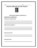 THE LIFE OF DR. MARTIN LUTHER KING, JR.-  AN AFRICAN-AMERICAN HISTORY PROJECT