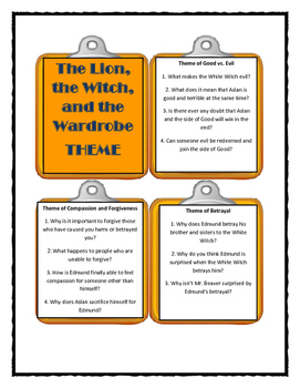 THE LION, THE WITCH AND THE WARDROBE- THEME Discussion Cards