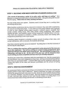 TEACHING WRITING - Creative Writing