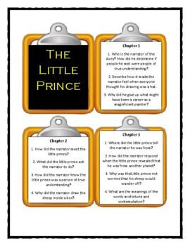THE LITTLE PRINCE by Antoine de Saint Exupery - Discussion Cards