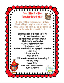 THE LITTLE RED HEN TODDLER BOOK UNIT