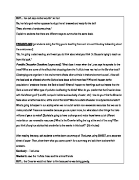 THE LORAX AND THE REAL WORLD LESSON PLAN