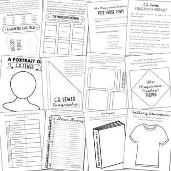 THE MAGICIAN'S NEPHEW Novel Study Unit Activities, In 2 Formats
