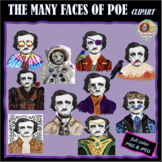 THE MANY FACES OF POE CLIPART, CLASS DECOR, BULLETIN BOARD