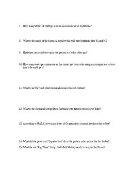 THE MARTIAN Book Questions