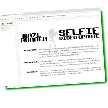 THE MAZE RUNNER Selfie Video Update Activity (Created for Digital)