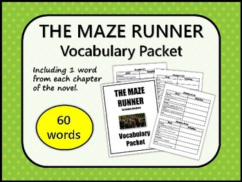 THE MAZE RUNNER by James Dashner VOCABULARY PACKET