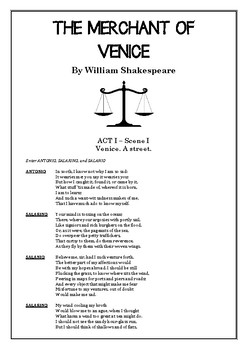 THE MERCHANT OF VENICE Full Script (Full Play) William Shakespeare