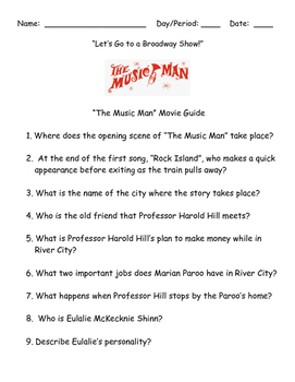 """LET'S GO TO A BROADWAY SHOW:  THE MUSIC MAN MOVIE GUIDE-""""BACK TO SCHOOL"""""""
