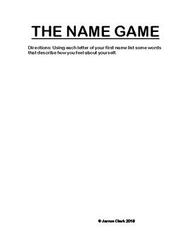 THE NAME GAME (Children, Teen, Adults)