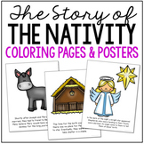 THE NATIVITY STORY Bible Story Coloring Pages and Posters, Craft Activity