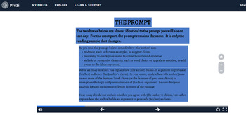 THE NEW SAT Essay Test PREZI (2016)--Overview of Test, Prompts, and Scoring