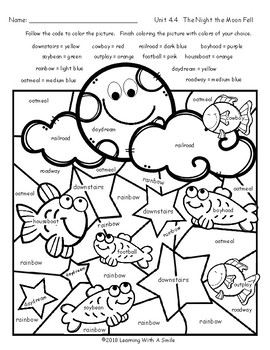 THE NIGHT THE MOON FELL Color by Word FREEBIE Grade 2