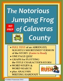 THE CELEBRATED JUMPING FROG OF CALAVERAS COUNTY Full Text, Quiz, Activities