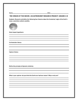 THE ORIGIN OF THE MOON- A SCIENCE PROJECT/GRADES 4-8