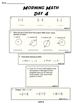 THE ORIGINAL MORNING MATH DAILY SPIRAL REVIEW: 4TH GRADE