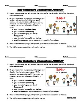 THE OUTSIDERS - Character JIGSAW Group Assignment