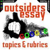 THE OUTSIDERS Essay Prompts and Speech w Grading Rubrics (Created for Digital)