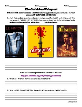 THE OUTSIDERS - Introduuctory Webquest