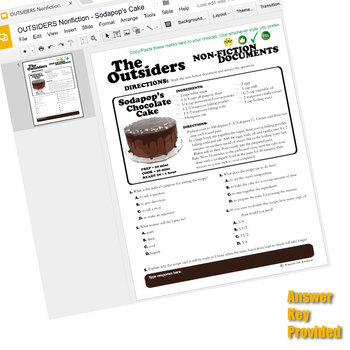 THE OUTSIDERS Sodapop's Cake Recipe - Non-Fiction (Created for Digital)