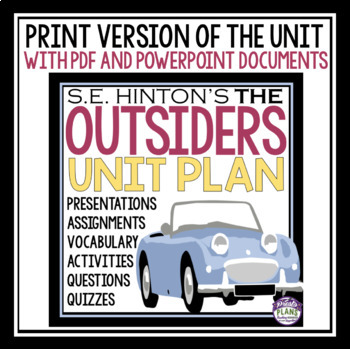 THE OUTSIDERS UNIT PLAN DIGITAL AND PRINT BUNDLE