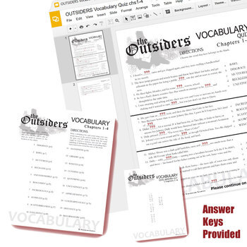 THE OUTSIDERS Vocabulary List and Quiz Assessment (Created for Digital)