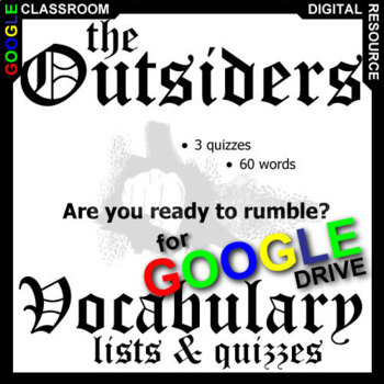 THE OUTSIDERS Vocabulary List and Quiz Assessment (Created