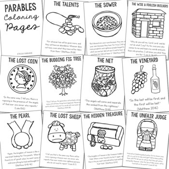 THE PARABLES Posters | Coloring Pages | Bible Story Lesson | Christian Activity