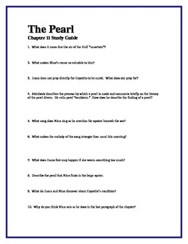 THE PEARL by John Steinbeck Chapter II Study Guide Questions w/key